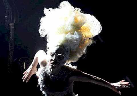 Lady Gaga with tall wig at the Brits 2010
