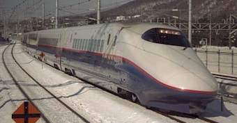 Shinkansen E2 train of Japan - pic copyright 1998 DAJ Fossett