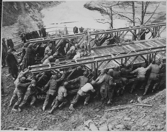 Baily bridge launched by US troops
