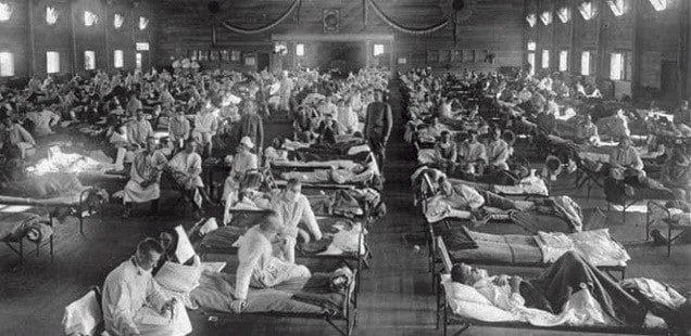1918 influenza quarantine of soldier in emergency hospital near Fort Riley, Kansas . AP Photo/National Museum of Health