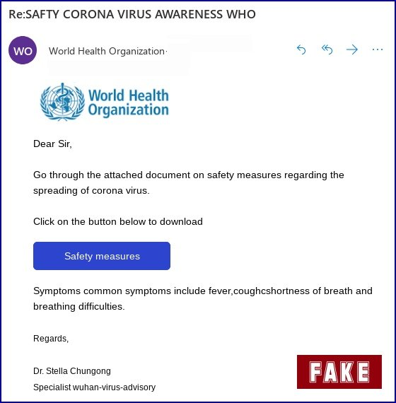 Example of fake WHO Coronavirus email.