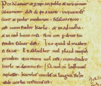 Oaths of Strasbourg parchment