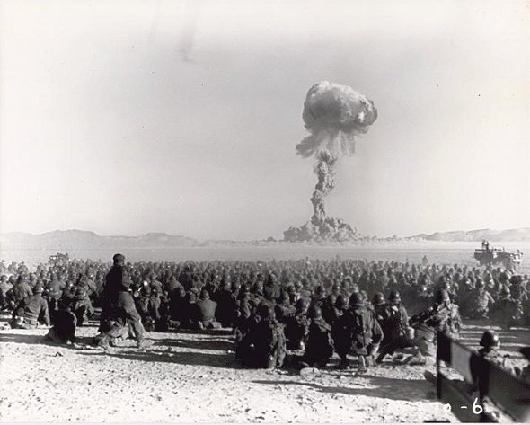 Troops participate in nuclear bomb test